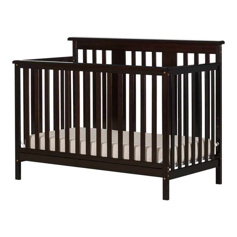 Little Smileys Baby Crib 4 Heights with Toddler Rail - Espresso