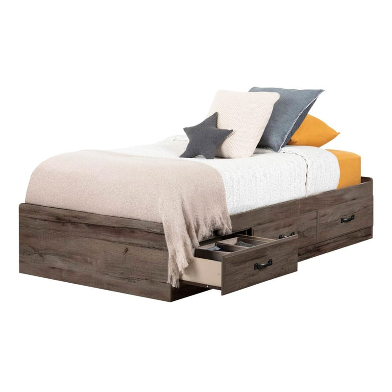 Twin Mates Bed with 3 Drawers Ulysses - Fall Oak