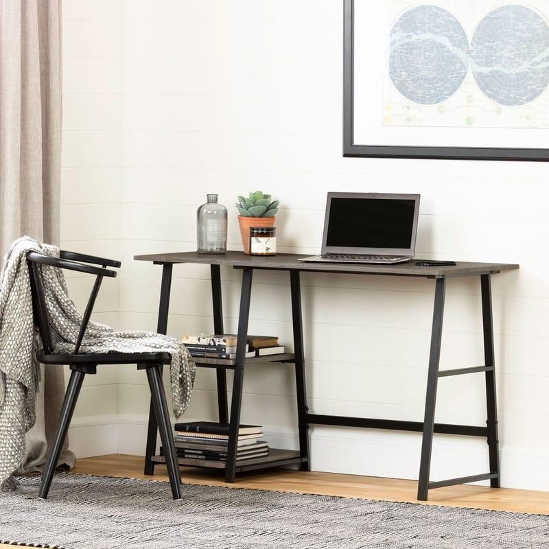 Industrial Desk with Storage - Evane Ash Oak