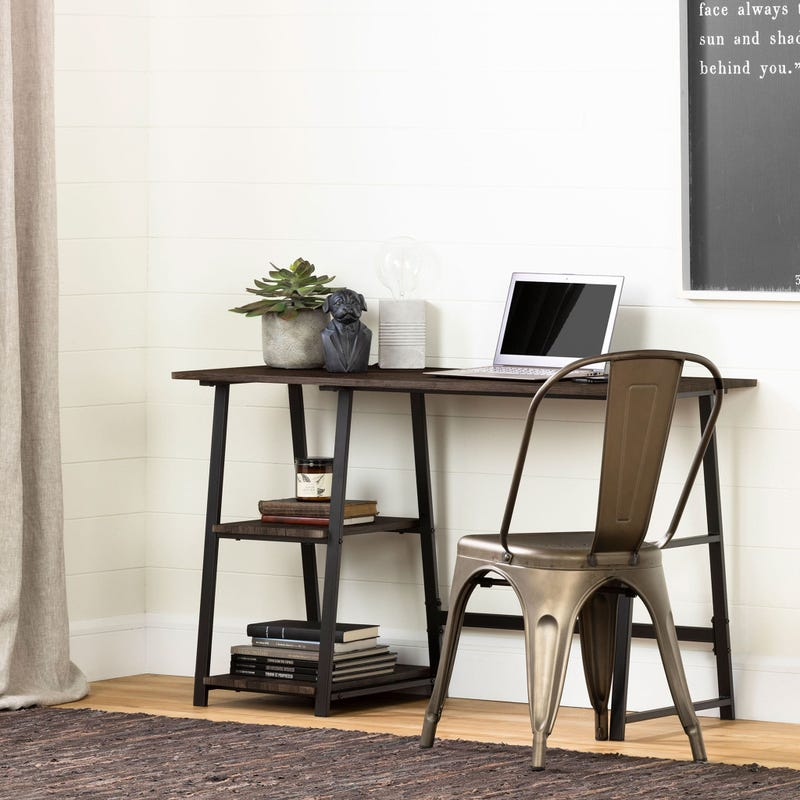 Industrial Desk with Storage - Evane Fall Oak