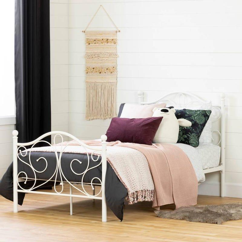 Lit Simple Plateforme avec Pied et Tête de Lit en Métal Summer Breeze - Blanc