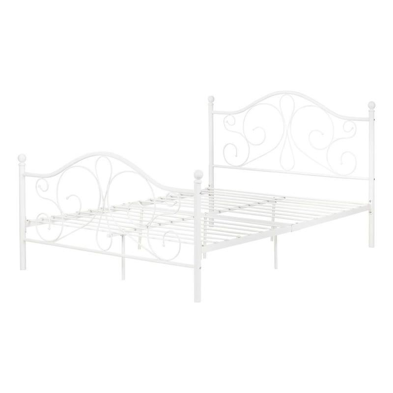Lit Double Plateforme avec Pied et Tête de Lit en Métal Summer Breeze - Blanc
