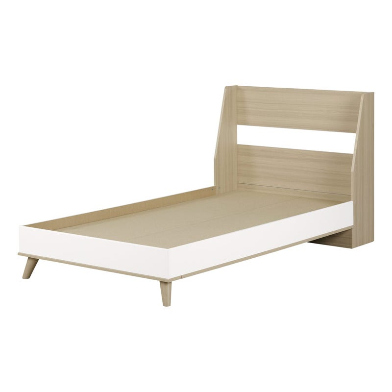 Yodi Twin Complete bed - Soft Elm and Pure White