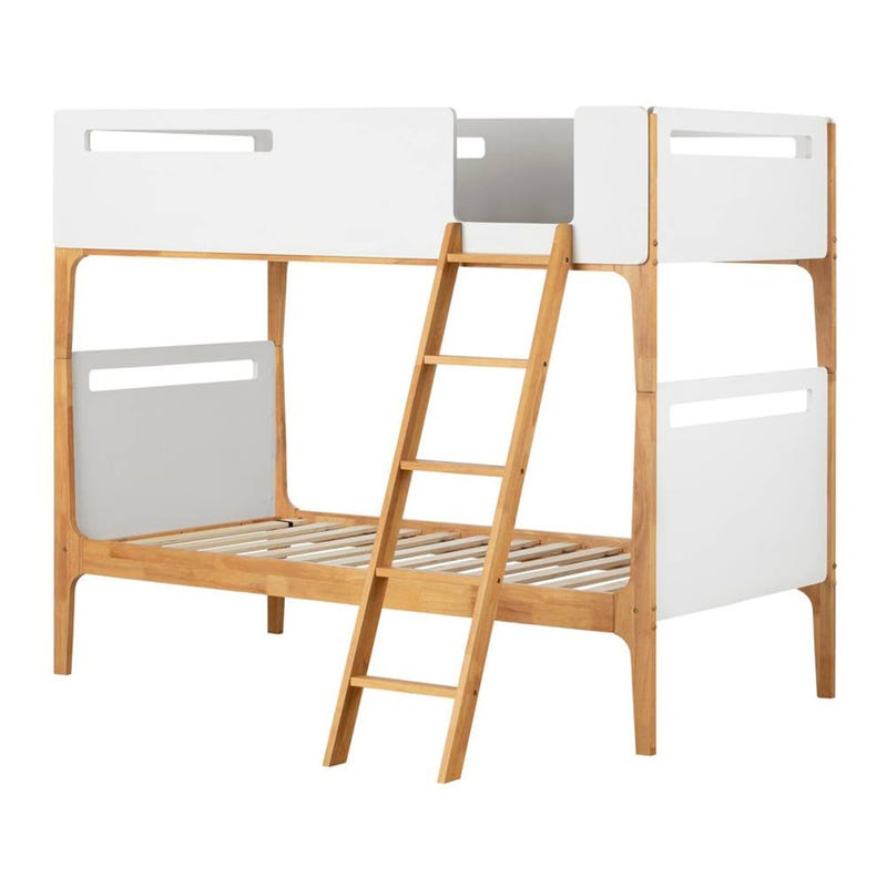 Bebble Modern Twin Bunk Beds - Pure White and Exotic Light Wood