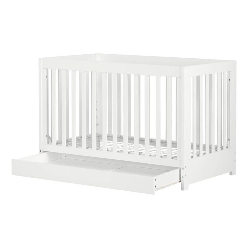 Yodi Crib with Drawer - White