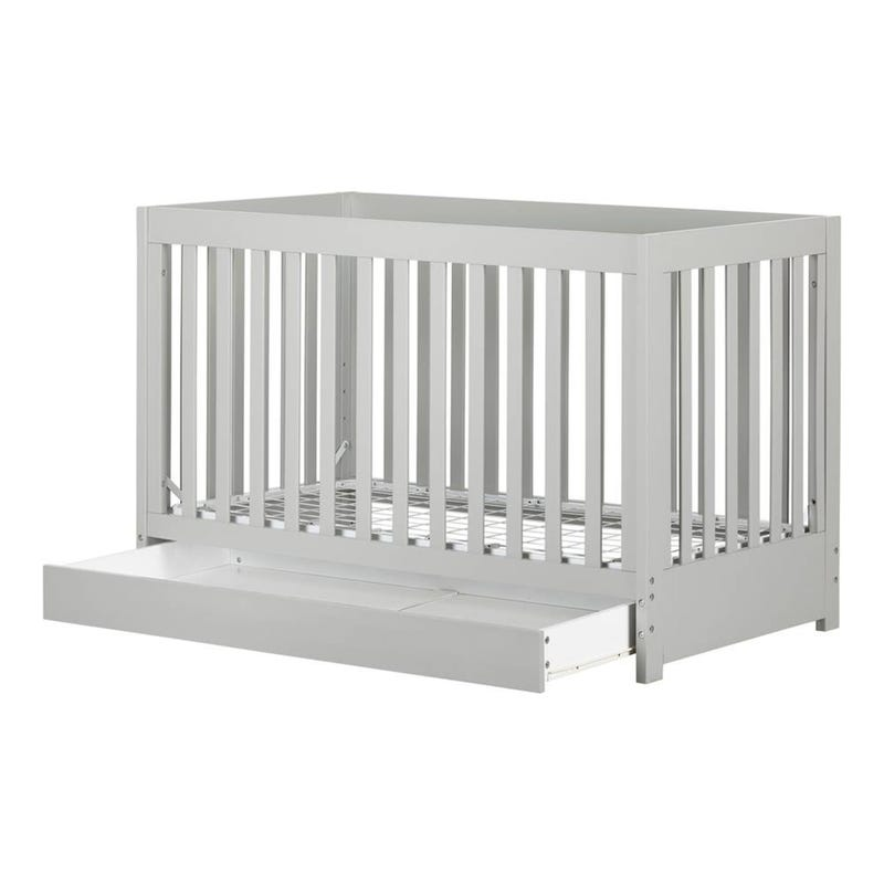 Cookie Crib with Drawer and Toddler Rail - Soft Gray