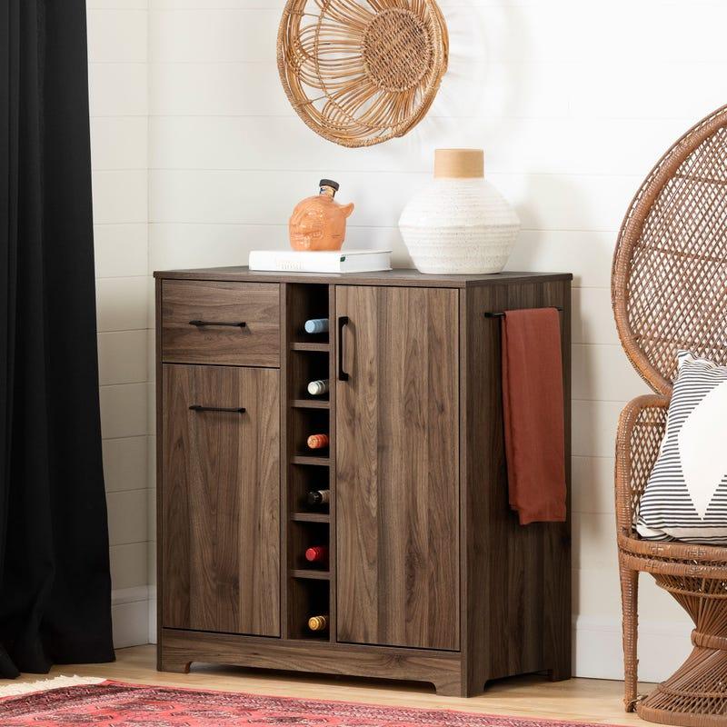 Bar Cabinet and Bottle Storage - Vietti Natural Walnut