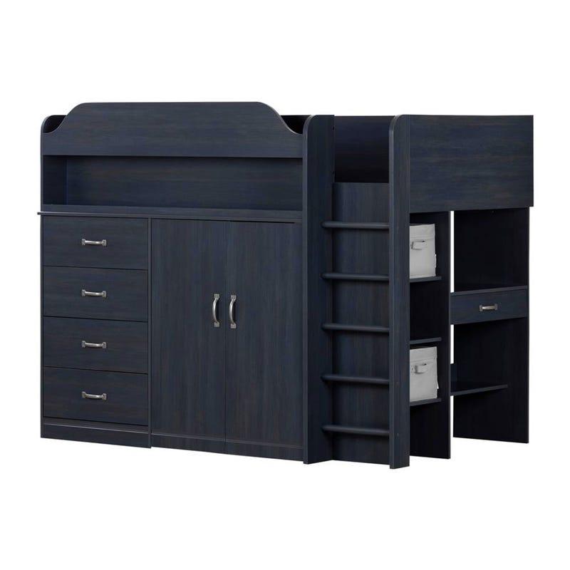 Loft Twin Bed with Desk Asten - Blueberry