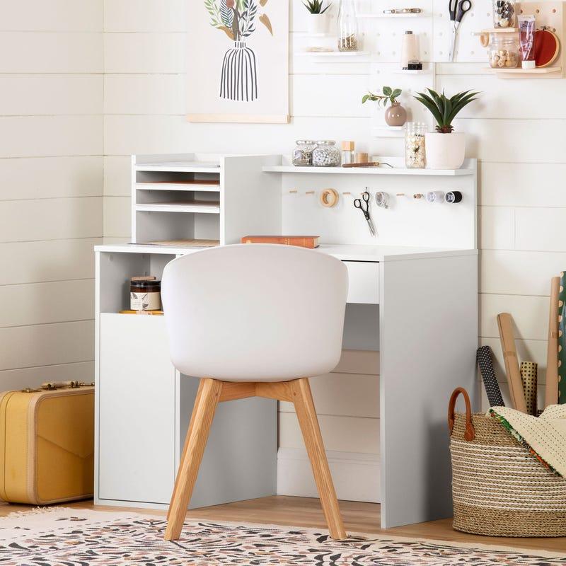 Craft Table with Hutch - Crea Pure White