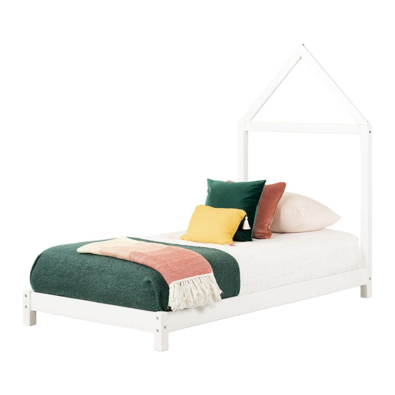 Sweedi Bed with House Frame Headboard - Pure White