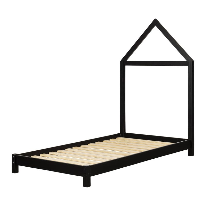 Sweedi Bed with House Frame Headboard - Matte Black