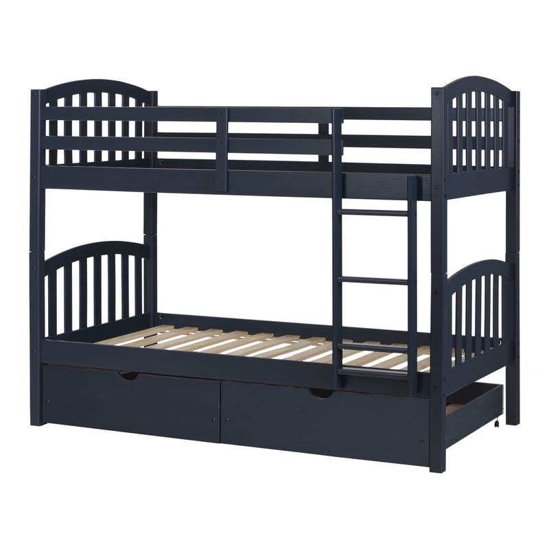Asten Bunk Beds and Rolling Drawers Set - Navy Blue