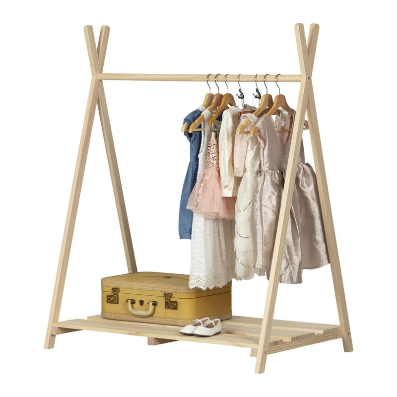 Sweedi Scandinavian Clothes Rack for Kids - Natural Pine