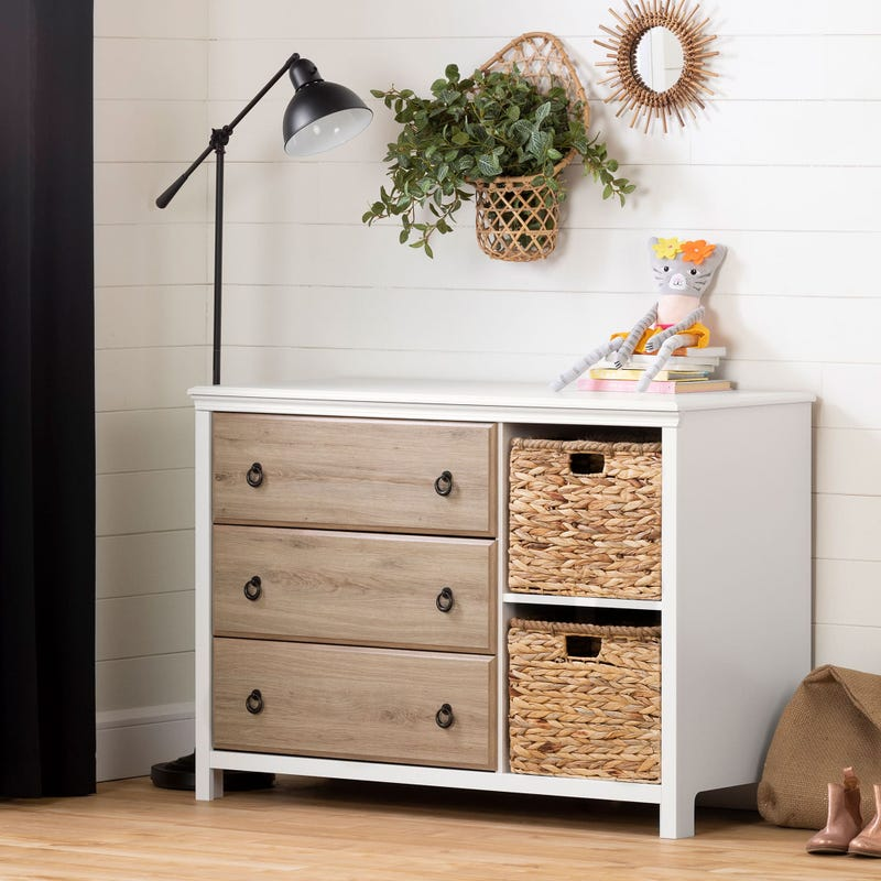 3-Drawer Dresser with Baskets - Cotton Candy Pure White and Rustic Oak