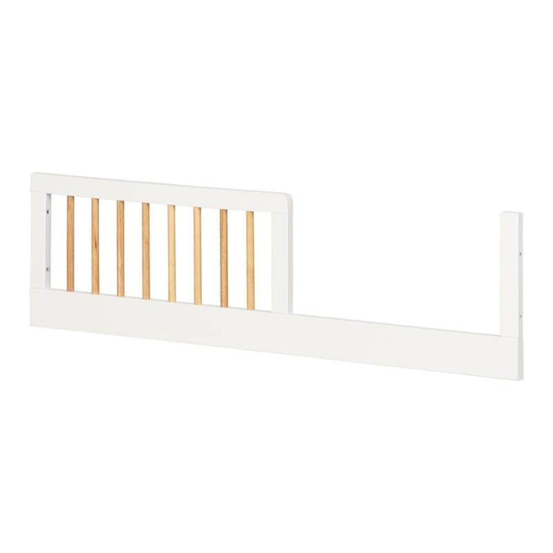 Barrière de Transition pour Lit de Bébé - Balka Blanc Solide / Bois Clair Exotique