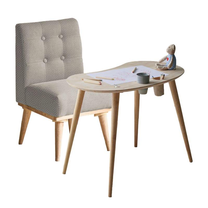 Ensemble Table pour Enfants et Chaise Rembourrée Sweedi - Bois Naturel / Gris