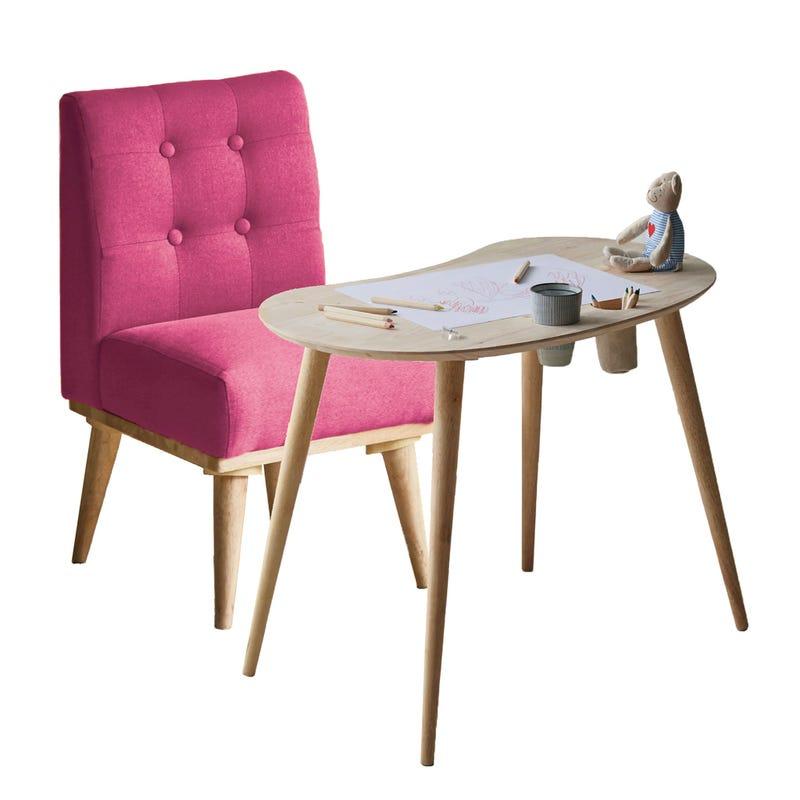 Ensemble Table pour Enfants et Chaise Rembourrée Sweedi - Bois Naturel / Rose