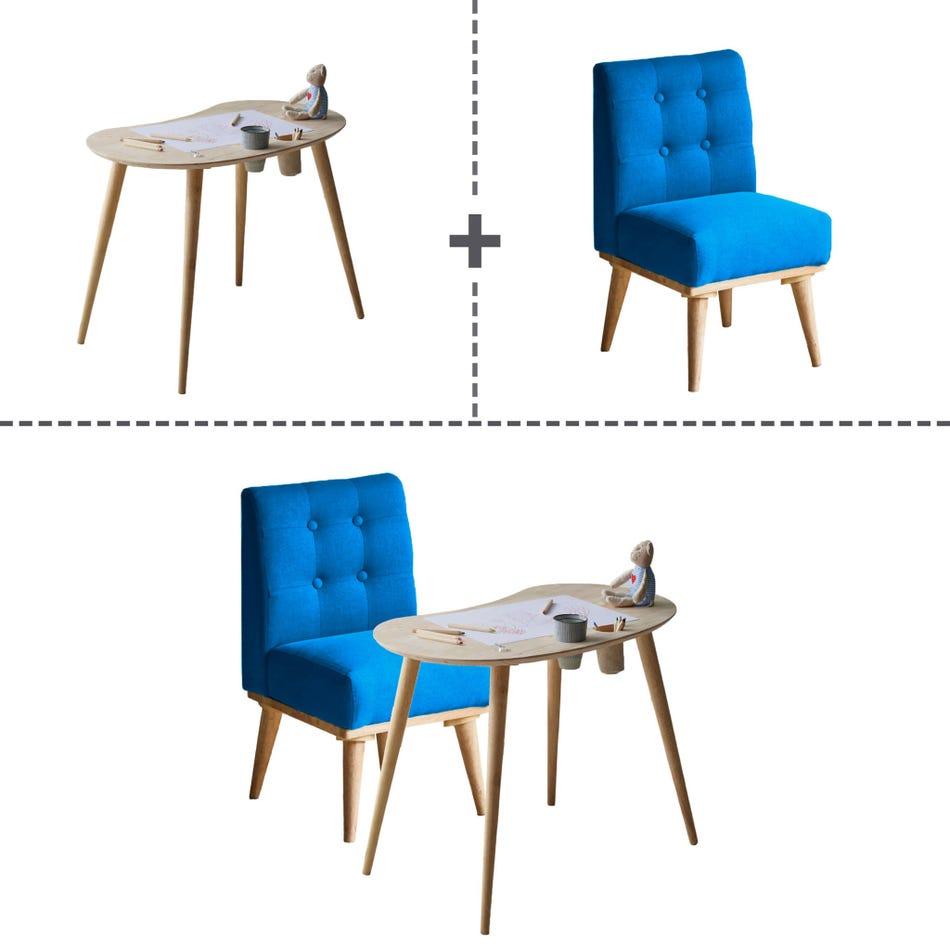 Ensemble Table pour Enfants et Chaise Rembourrée Sweedi - Bois Naturel /  Bleu South Shore - Clément