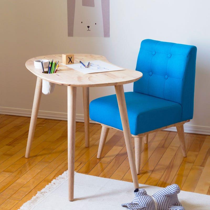 Ensemble Table pour Enfants et Chaise Rembourrée Sweedi - Bois Naturel / Bleu