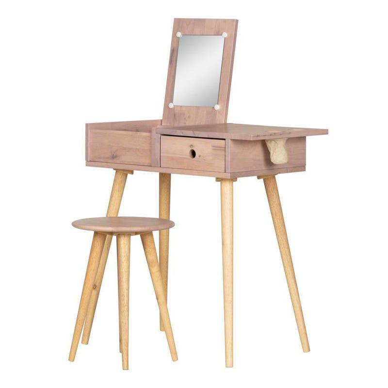 Sweedi Solid Wood Vanity Table with Stool Set - Pink Wood