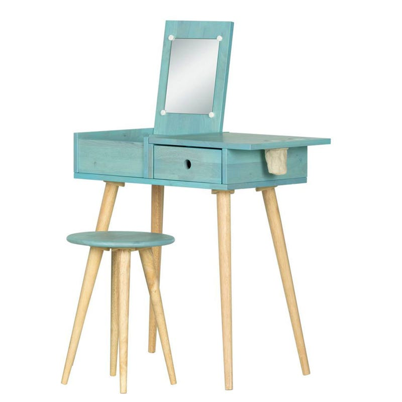 Sweedi Solid Wood Vanity Table with Stool Set - Blue Wood