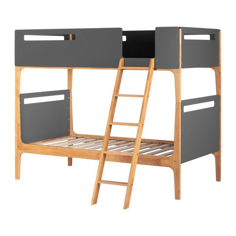 Modern Bunk Beds Bebble - Charcoal Gray / Exotic Wood