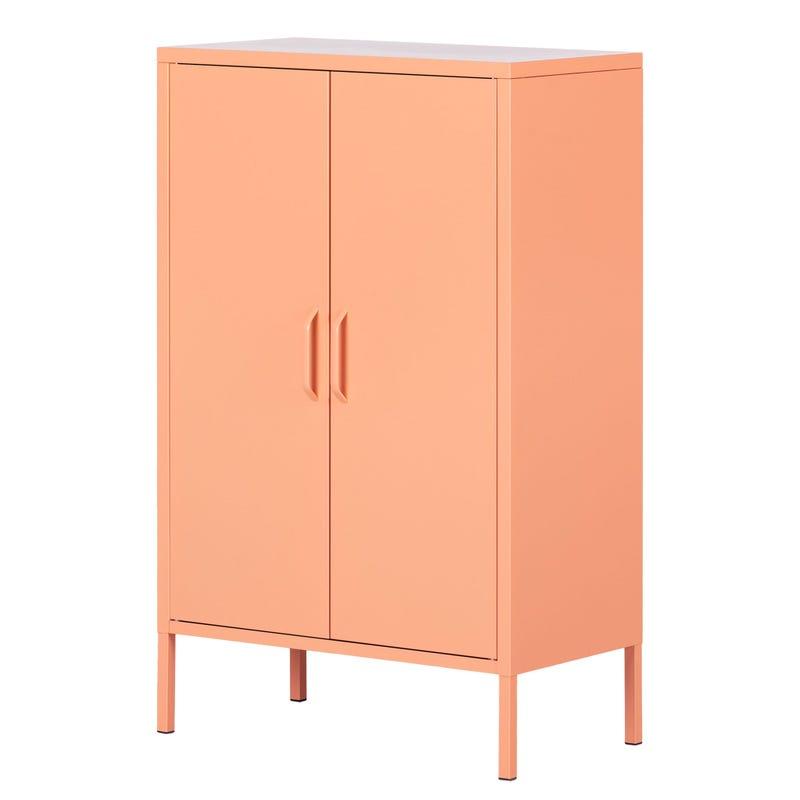 Metal 2-door Accent Cabinet Crea - Pale Orange
