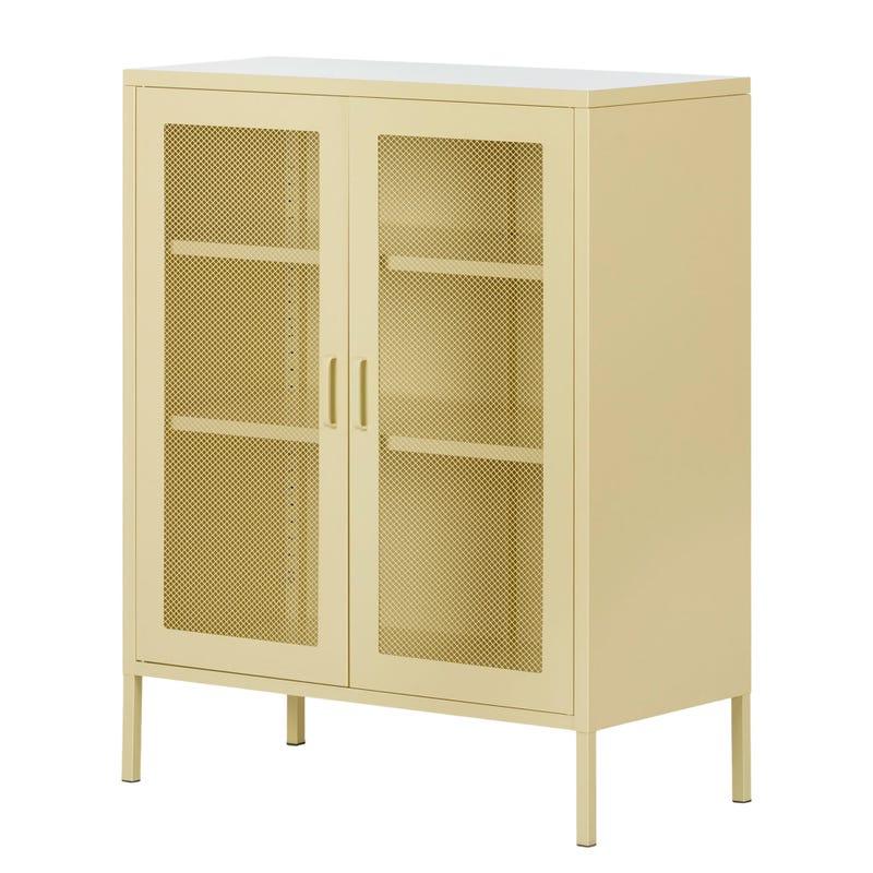 Metal Mesh 2-door Accent Cabinet Crea - Pale Yellow
