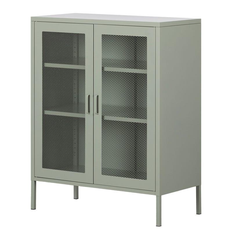 Metal Mesh 2-door Accent Cabinet Crea - Sage Green