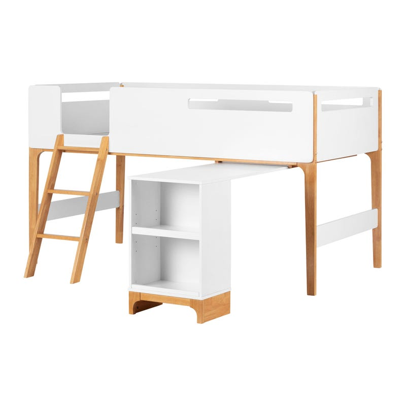 Loft Bed with Desk - Bebble White and Natural