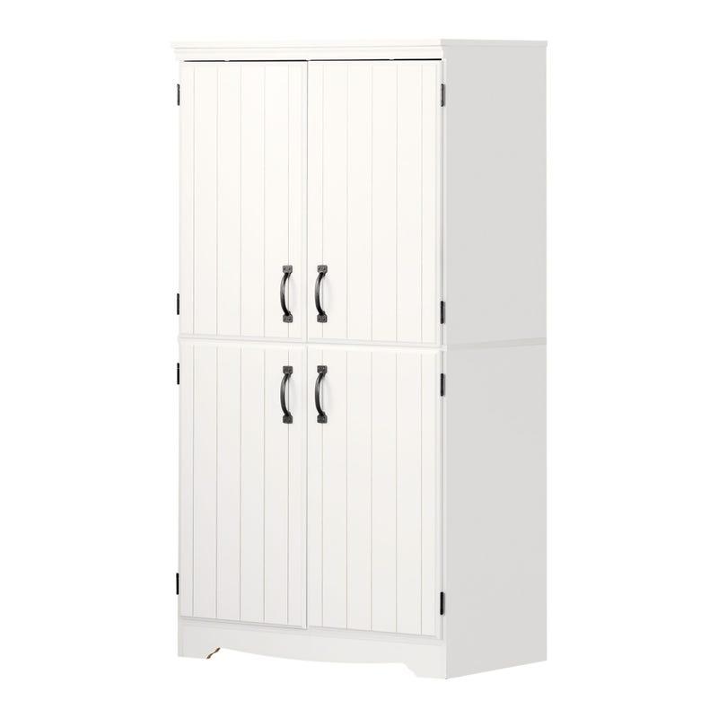 Armoire de Rangement avec 4 Portes - Farnel Blanc Solide