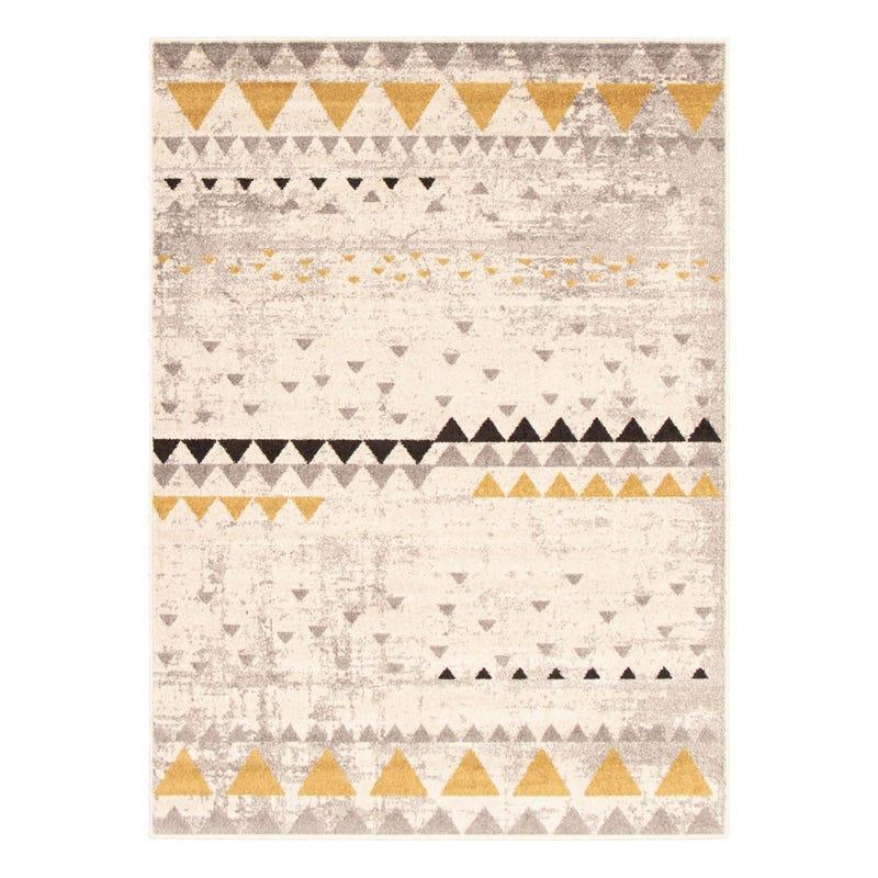 Tapis Décoratif Triangles géométriques - Step One Beige et jaune