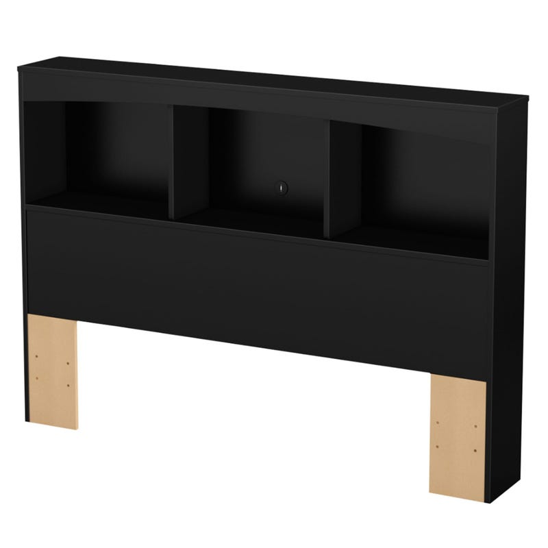Step One Double Bookcase Headboard - Pure Black