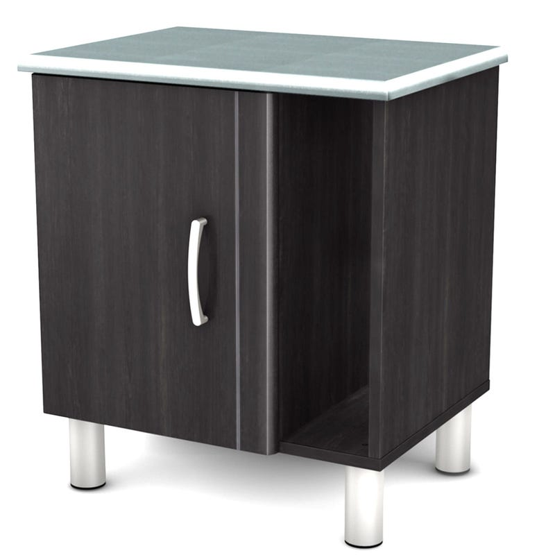 Cosmos Nightstand with Storage - Black Onyx and Charcoal