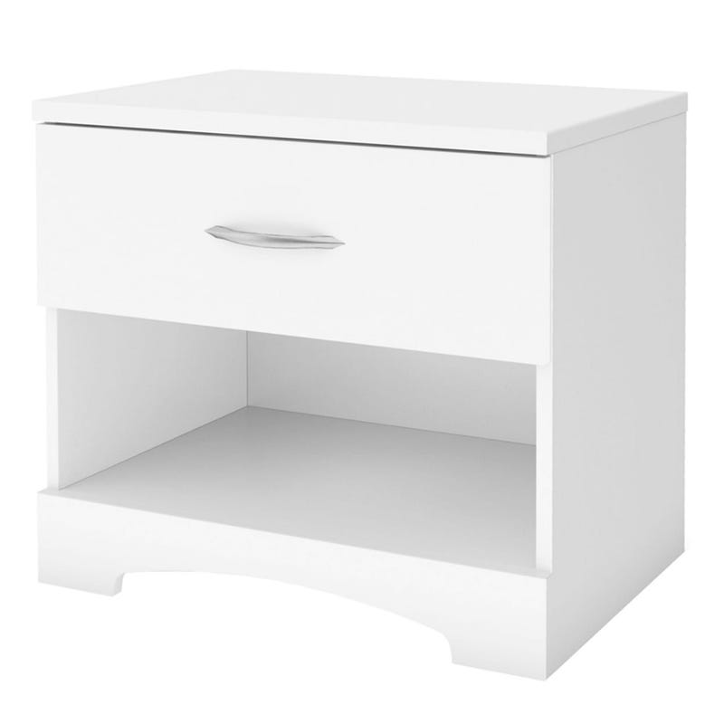 Table de Nuit 1 Tiroir Step One - Blanc Solide