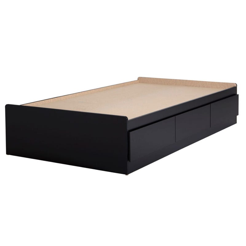 Vito Double Twin Mates Bed with 3 Drawers - Pure Black