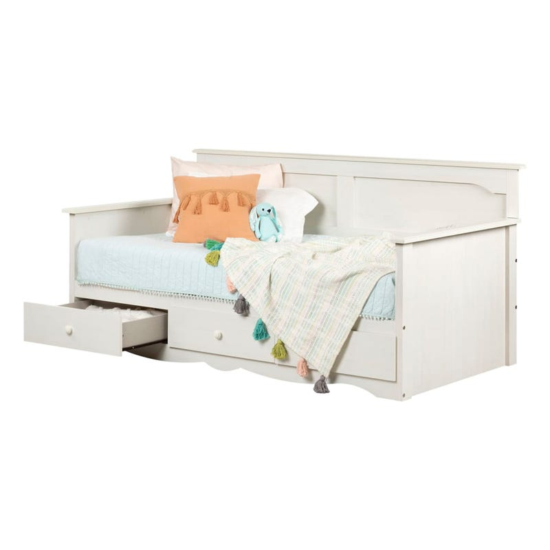 Daybed with Storage - Summer Breeze White Wash