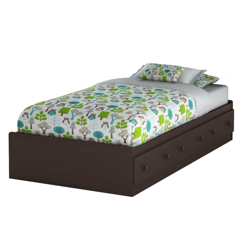 Summer Breeze Twin Mates Bed with 3 Drawers - Chocolate