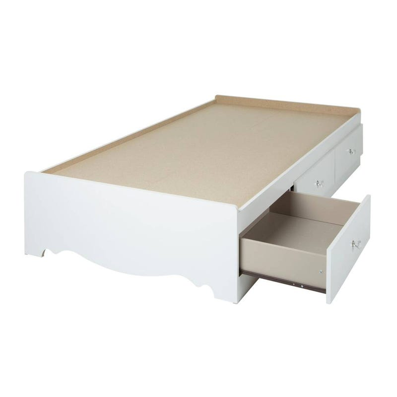 Crystal Mates Bed with 3 Drawers - Pure White