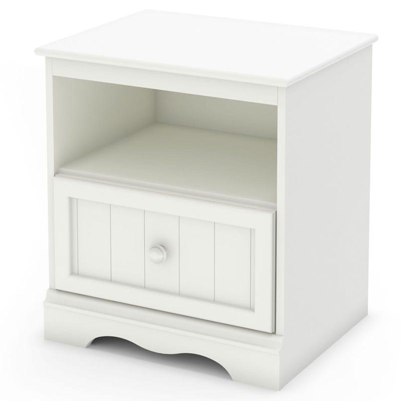 Table de Nuit 1 Tiroir Savannah - Blanc Solide