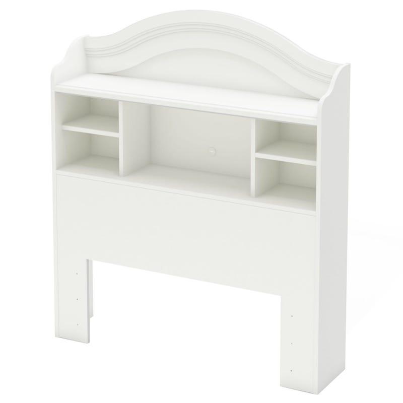 Tête de Lit Simple Bibliothèque Savannah - Blanc Solide