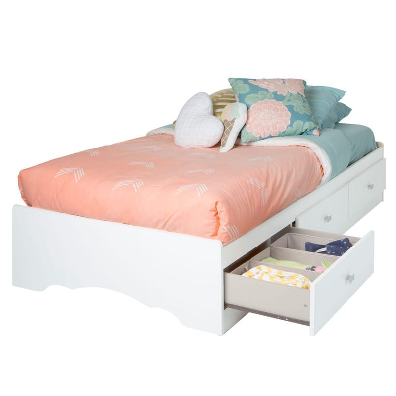 Tiara Twin Mates Bed with 3 Drawers - Pure White