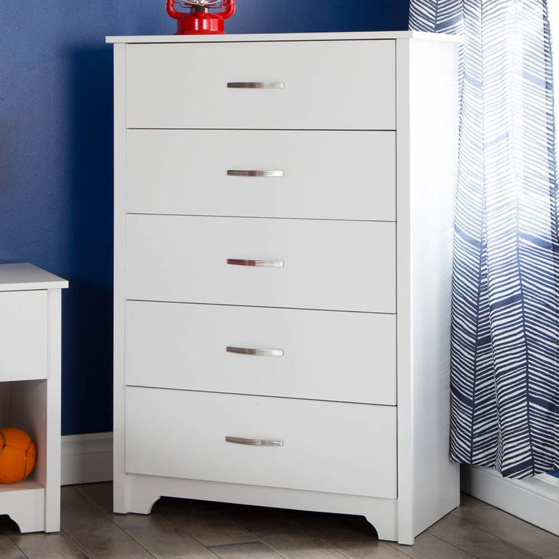 Commode 5 Tiroirs Fusion - Blanc Solide