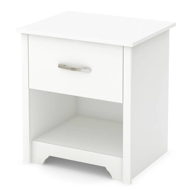 Fusion 1-Drawer Nightstand with Storage - Pure White
