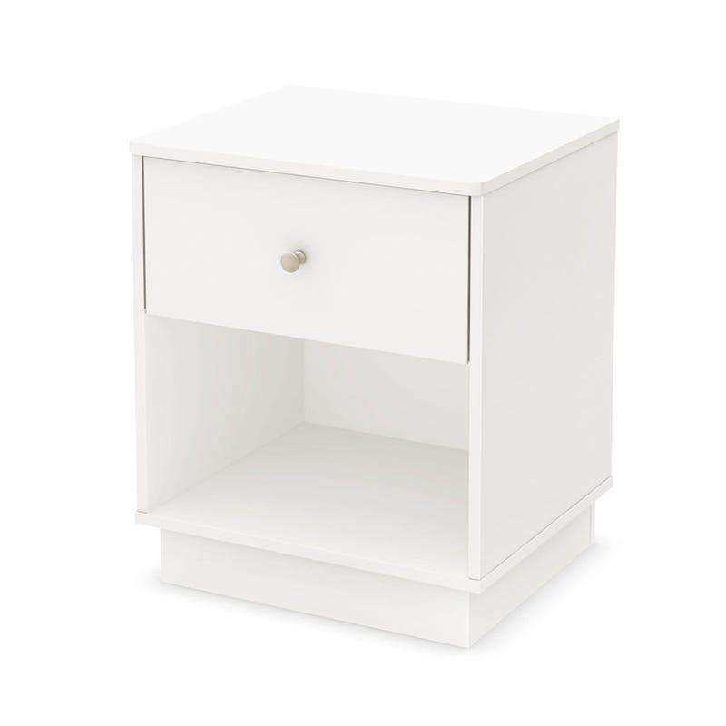 Table de Nuit 1 Tiroir Litchi - Blanc Solide