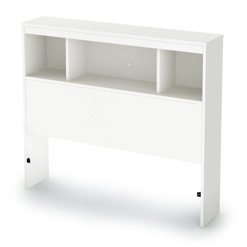Litchi Twin Bookcase Headboard - Pure White