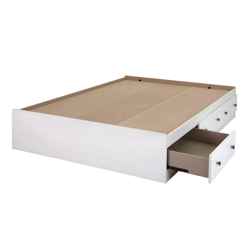 Country Poetry Double Mates Bed with 3 Drawers - White Wash