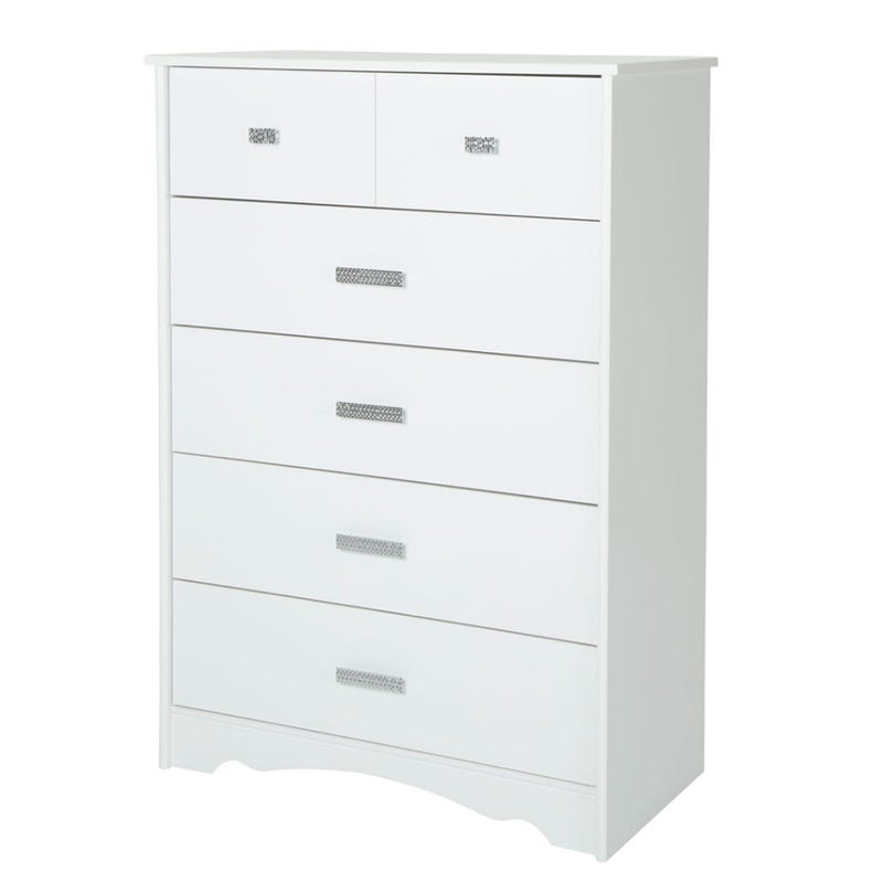 Commode 5 Tiroirs Tiara - Blanc Solide
