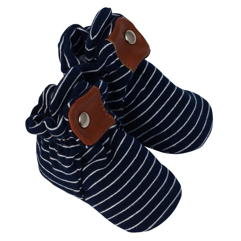 Navy Stripe Snap Booties 0-12m