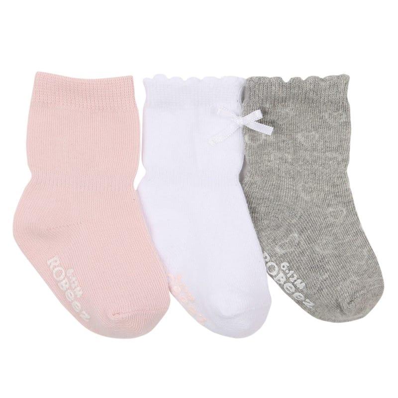 Basics Pink 3-Pack Socks 0-24m